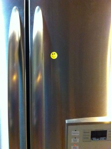 Smiley sticker on fridge
