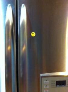 Smiley sticker on fridge
